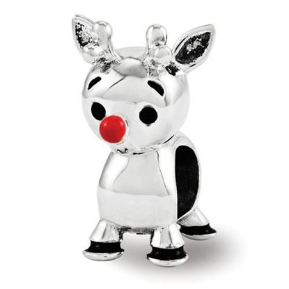 Picture of Sterling Silver Red Enamel Rudolph Bead