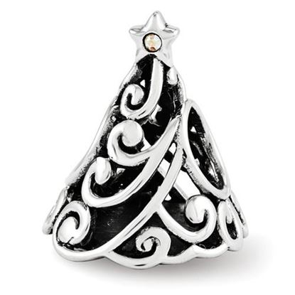 Picture of Sterling Silver Swarovski Filigree Christmas Tree Bead