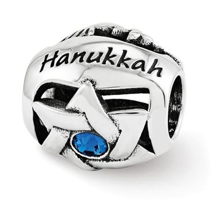 Picture of Sterling Silver Crystals from Swarovski Happy Hanukkah Bead