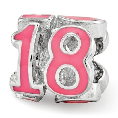 Picture of Sterling Silver Pink Enameled 18 Bead