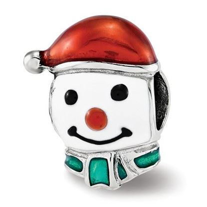 Picture of Sterling Silver Enameled Snowman Head Bead