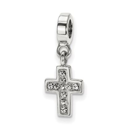 Picture of Sterling Silver Clear Swarovski Crystal Cross Dangle Bead