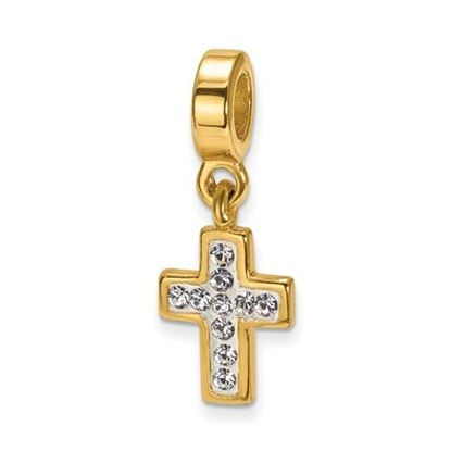 Picture of Sterling Silver Gold-plated Swarovski Cross Dangle Bead