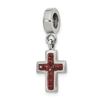 Picture of Sterling Silver Swarovski Crystal Cross Dangle Bead