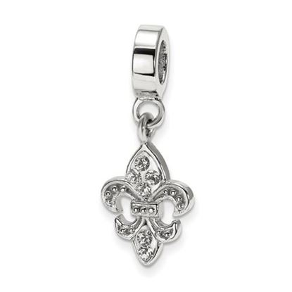 Picture of Sterling Silver Clear Swarovski Crystal Fleur De Lis Bead