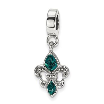 Picture of Sterling Silver Green Swarovski Fleur De Lis Dangle Bead
