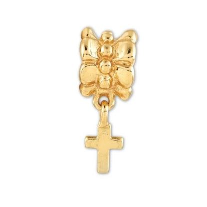 Picture of Sterling Silver Gold-plated Cross Dangle Bead
