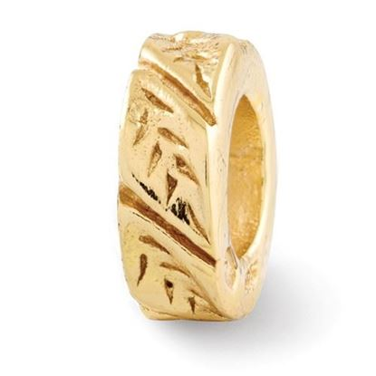 Picture of Sterling Silver Gold-plated Leaf Design Spacer Bead