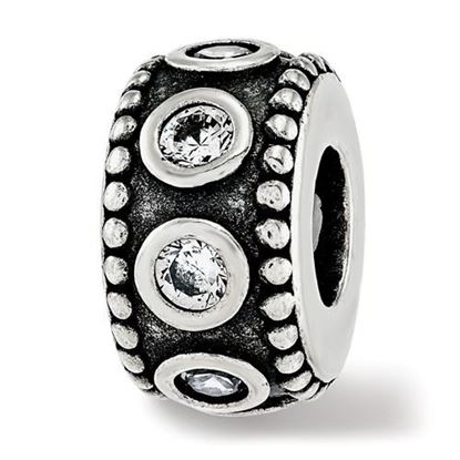 Picture of Sterling Silver CZ Antiqued Bali Bead