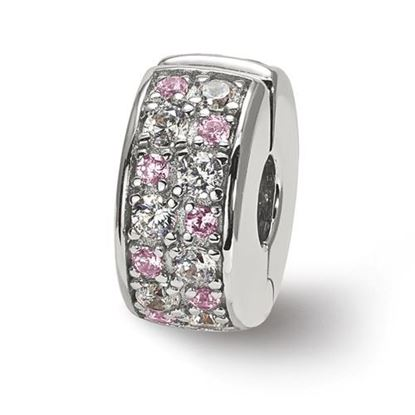 Picture of Sterling Silver White & Pink CZ Hinged Bead
