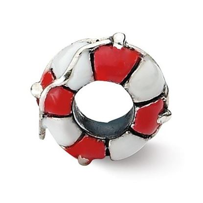Picture of Sterling Silver Enameled Life Preserver Bead