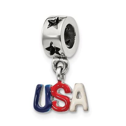 Picture of Sterling Silver Enameled USA Dangle Bead