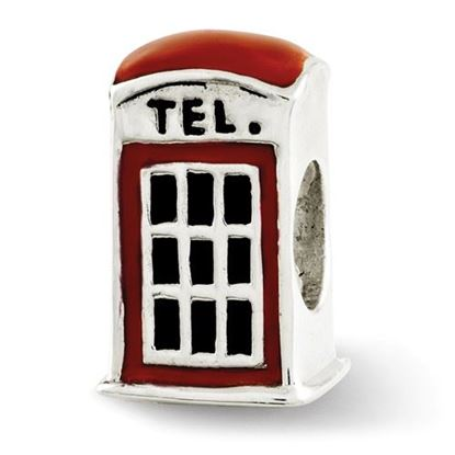 Picture of Sterling Silver Enameled Telephone Booth Bead