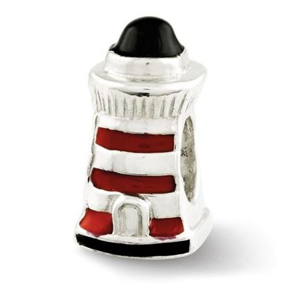 Picture of Sterling Silver Enameled Lighthouse Bead