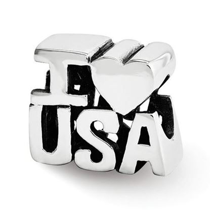 Picture of Sterling Silver I HEART USA Bead