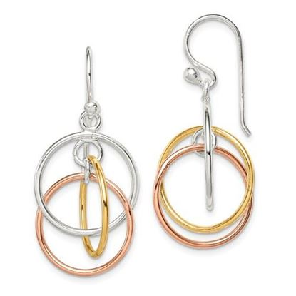 Picture of Sterling Silver 14K Yellow and Rose Gold & Rose Gold Circles Dangle Earrings