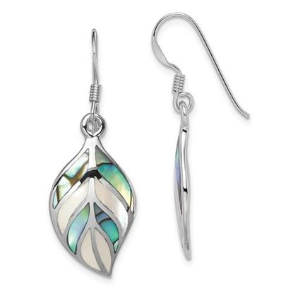 Picture of Sterling Silver Mother of Pearl and Abalone Dangle Earrings