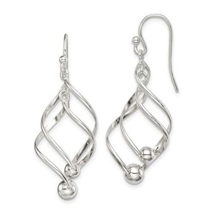 Picture of Sterling Silver Polished Twisted Dangle Earrings