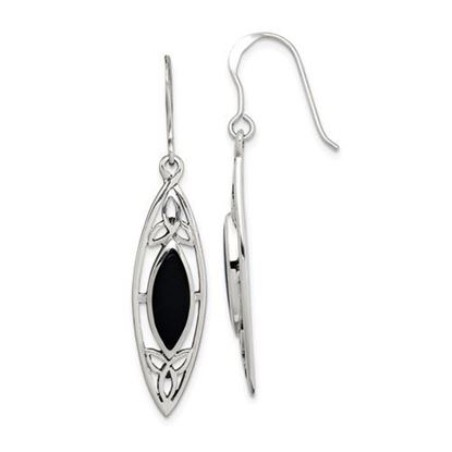 Picture of Sterling Silver Polished Black Onyx Shepherd Hook Earrings