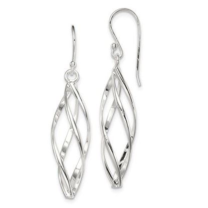 Picture of Sterling Silver Long Twisted Earrings