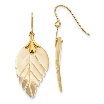 Picture of 14k Madi K Mother of Pearl Leaf Dangle Earrings
