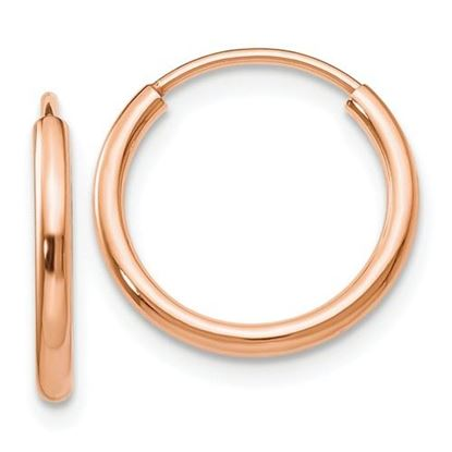 Picture of 14k Rose Gold 14mm Diameter Polished Endless Tube Hoop 1.5mm Earrings