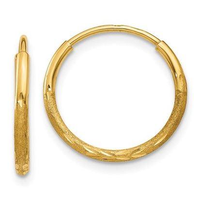 Picture of 14k Diamond-cut 12mm Diameter Endless Hoop 1.25mm Earrings
