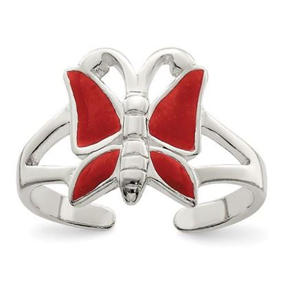 Picture of Sterling Silver Antiqued Red Enameled Butterfly Toe Ring