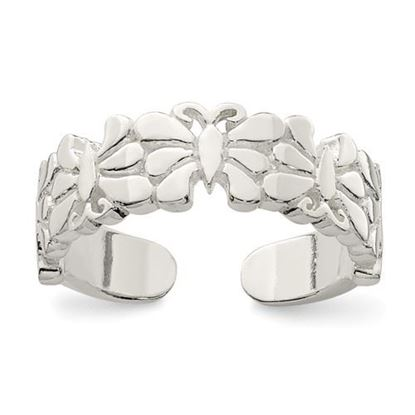 Picture of Sterling Silver Polished Butterflies Toe Ring