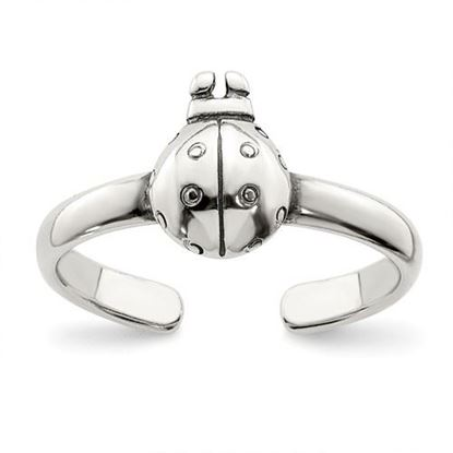Picture of Sterling Silver Antiqued Ladybug Toe Ring