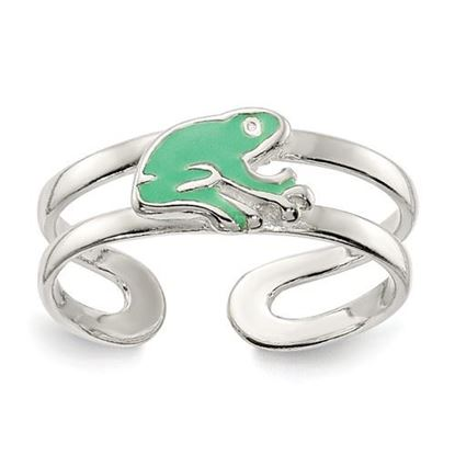 Picture of Sterling Silver Green Enameled Frog Toe Ring