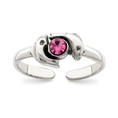 Picture of Sterling Silver Antiqued Pink CZ Dolphin Toe Ring