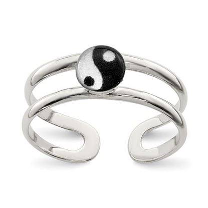 Picture of Sterling Silver Enameled Yin Yang Toe Ring