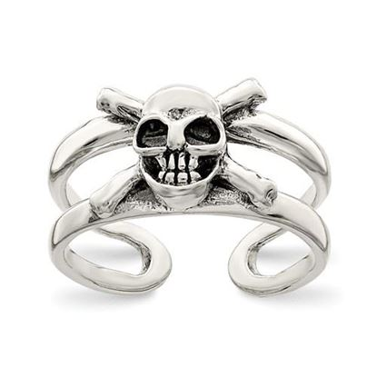 Picture of Sterling Silver Antiqued Skull Toe Ring