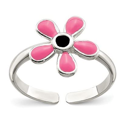 Picture of Sterling Silver Pink Enameled Floral Toe Ring