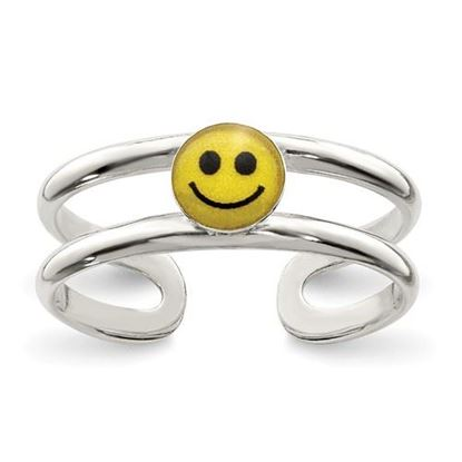 Picture of Sterling Silver Yellow & Black Enameled Smiley Toe Ring