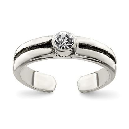 Picture of Sterling Silver CZ Antiqued Toe Ring