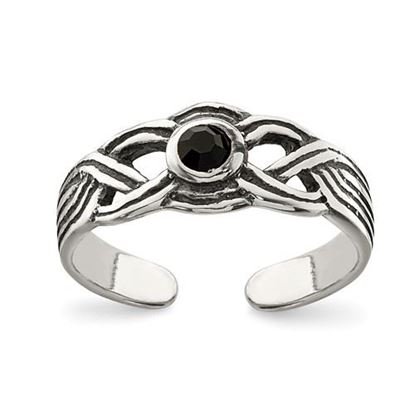 Picture of Sterling Silver Antiqued black CZ Toe Ring