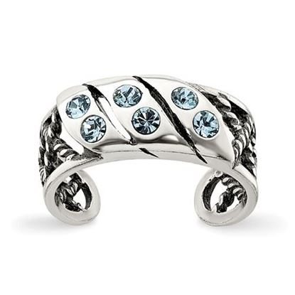 Picture of Sterling Silver Antiqued Blue Stellux Crystal Toe Ring