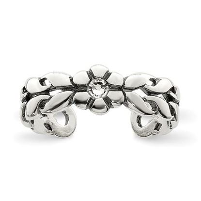 Picture of Sterling Silver Antiqued Stellux Crystal Toe Ring