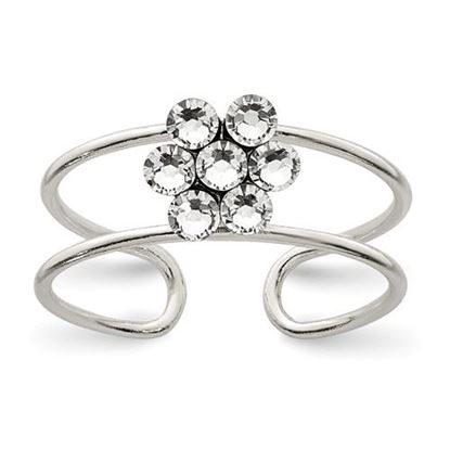 Picture of Sterling Silver CZ Flower Toe Ring