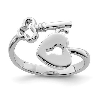 Picture of Sterling Silver Rhodium-plated Heart Lock & Key Toe Ring