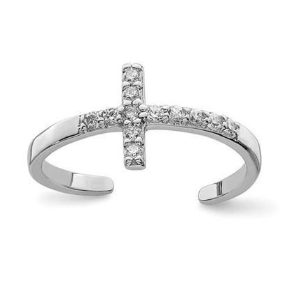 Picture of Sterling Silver Rhodium-plated CZ Cross Toe Ring