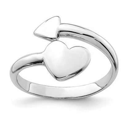 Picture of Sterling Silver Rhodium-plated Heart Arrow Toe Ring