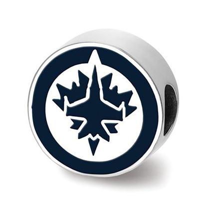 Picture of Winnipeg Jets™ Jet Sterling Silver Enameled Logo Bead