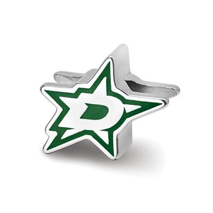 "Picture of Dallas Stars™ ""D"" Sterling Silver Enameled Logo Bead"