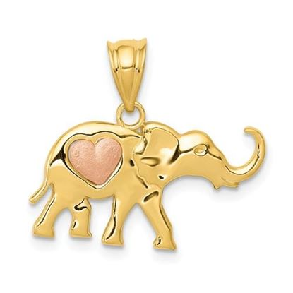 Picture of 14k Yellow and Rose Gold Elephant Heart Charm