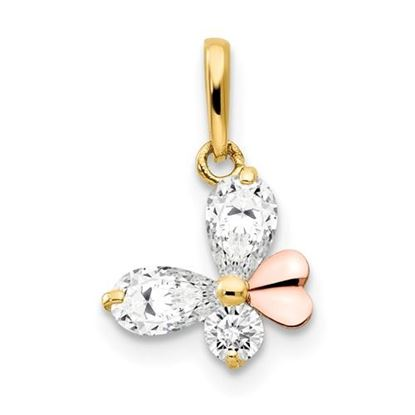 Picture of 14k Two-tone Gold CZ Children's Butterfly Pendant