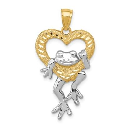 Picture of 14k and Rhodium Diamond Cut Frog in Heart Pendant