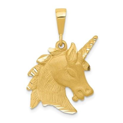 Picture of 14k Yellow Gold Unicorn Head Charm